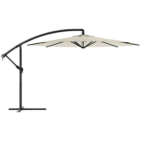 Meco 9 3/4-Foot Warm White Fabric Offset Patio Umbrella