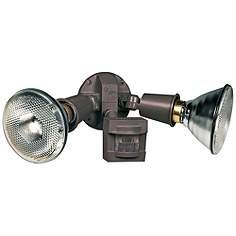 Halogen outdoor security lights lamps plus twin flood bronze motion sensing halogen security light aloadofball Images