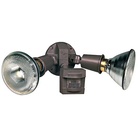 Twin-Flood Bronze Motion-Sensing Halogen Security Light