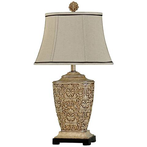Ashford tortola cream fleur de lis table lamp 1x335 lamps plus aloadofball Choice Image