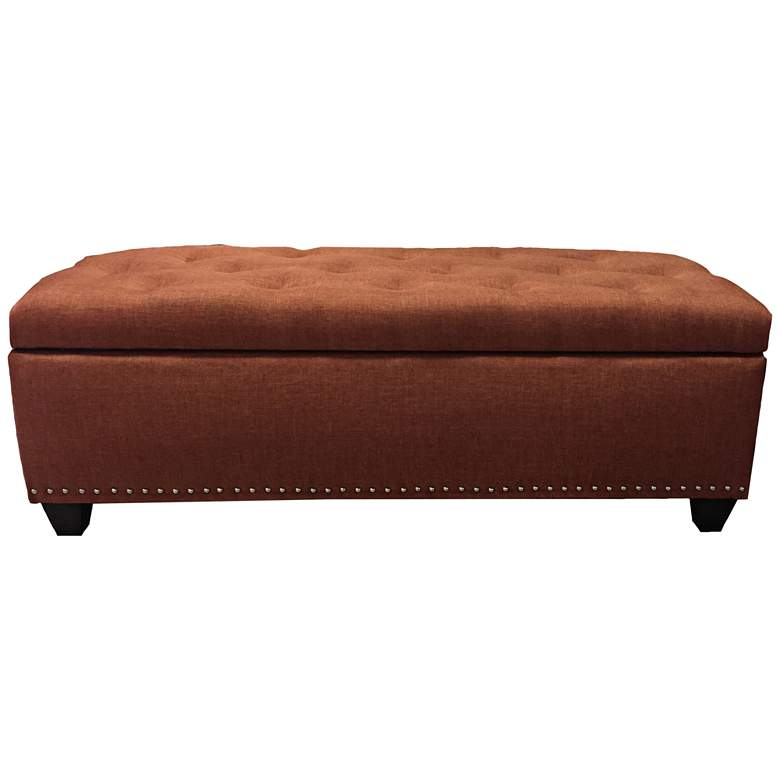 Sand Terracotta Fabric Tufted Storage Bench