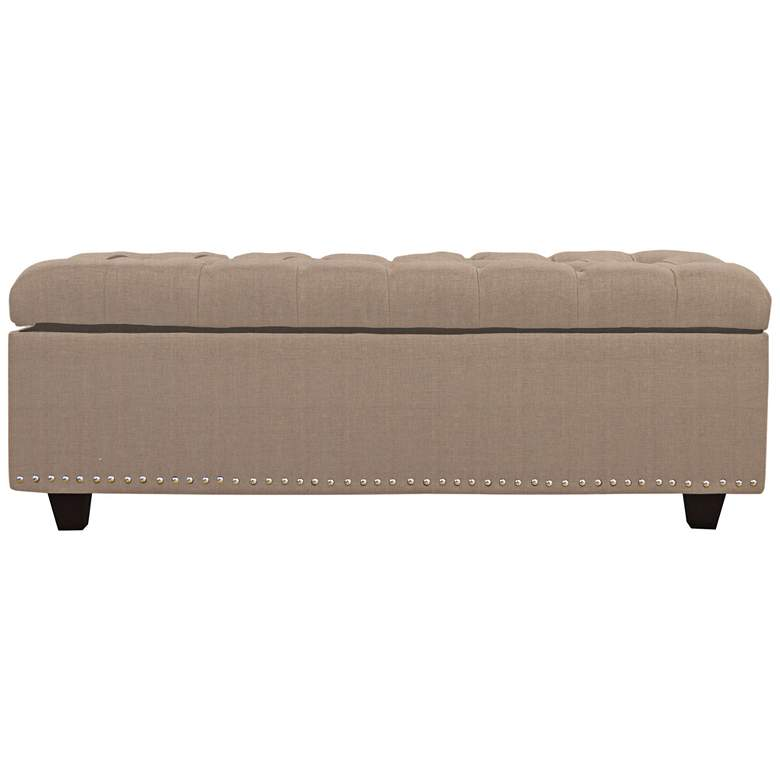 Sand Khaki Fabric Tufted Storage Bench