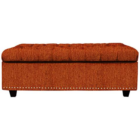 Flair Terracotta Fabric Tufted Storage Ottoman