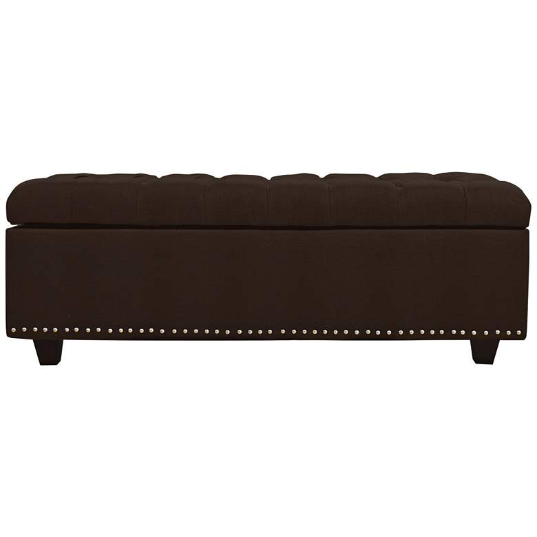 Grant Chocolate Fabric Tufted Storage Bench