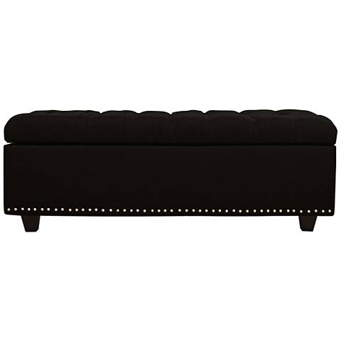 Grant Black Fabric Tufted Storage Ottoman
