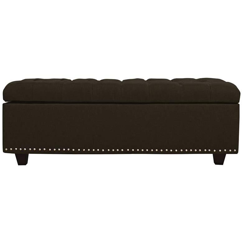 Grant Espresso Fabric Tufted Storage Bench