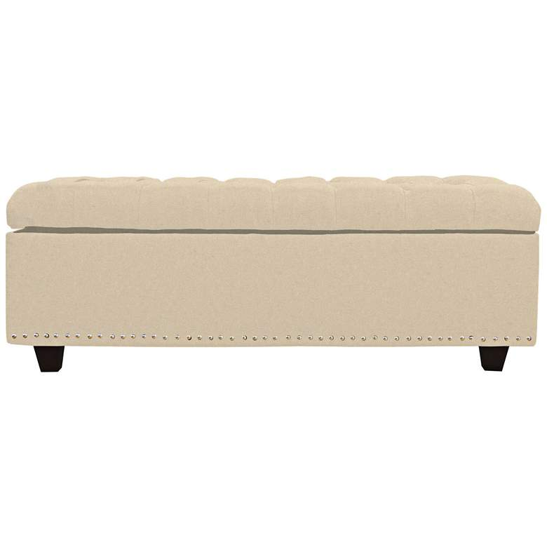 Grant Pearl Fabric Tufted Storage Bench