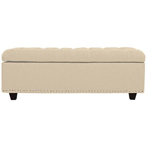 Grant Pearl Fabric Tufted Storage Ottoman