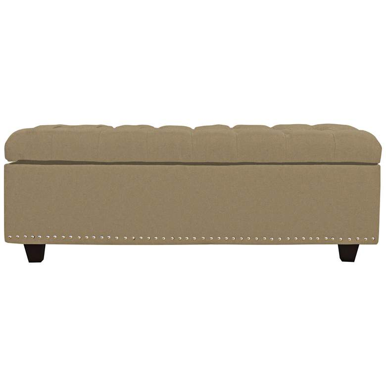 Grant Taupe Fabric Tufted Storage Bench