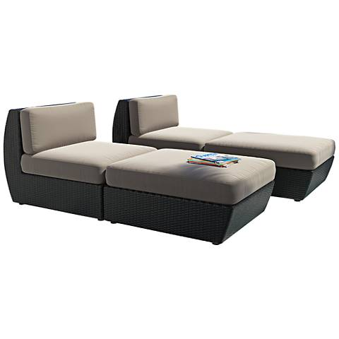Seattle Black Weave Gray Cushion 4-Piece Patio Lounge Set