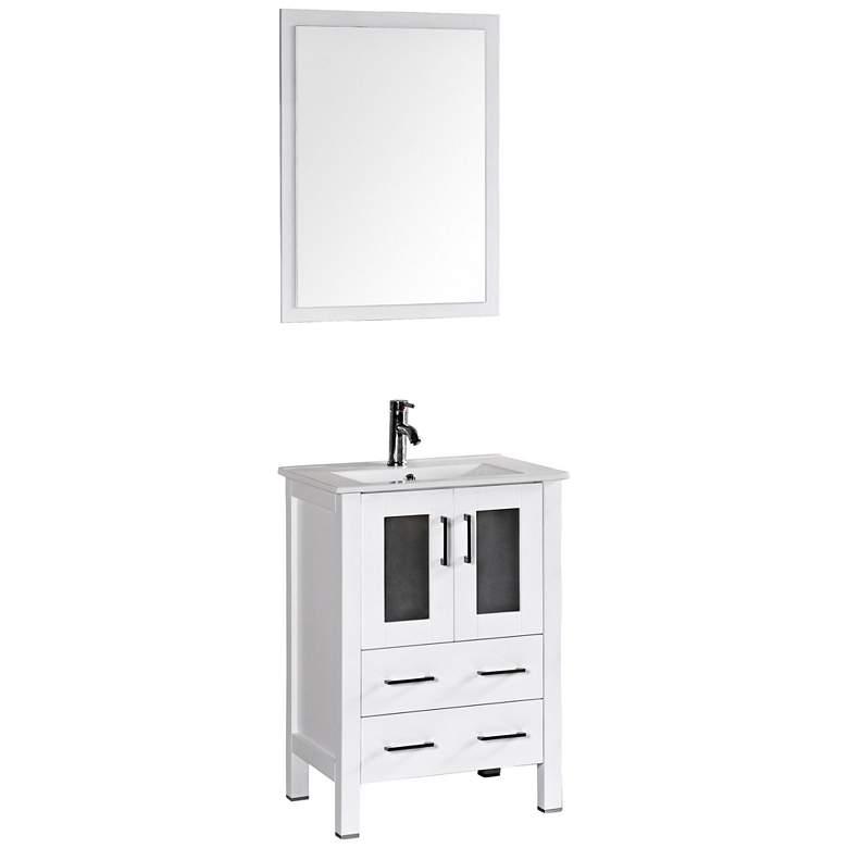 "Bosconi 24"" Gloss White Integrated Single-Sink Vanity Set"