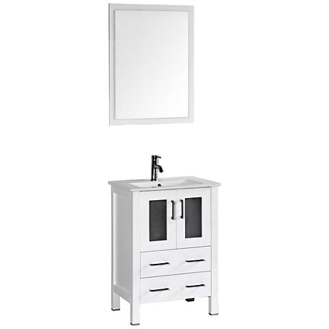"Bosconi 24"" Gloss White Integrated Single-Sink Vanity Set"