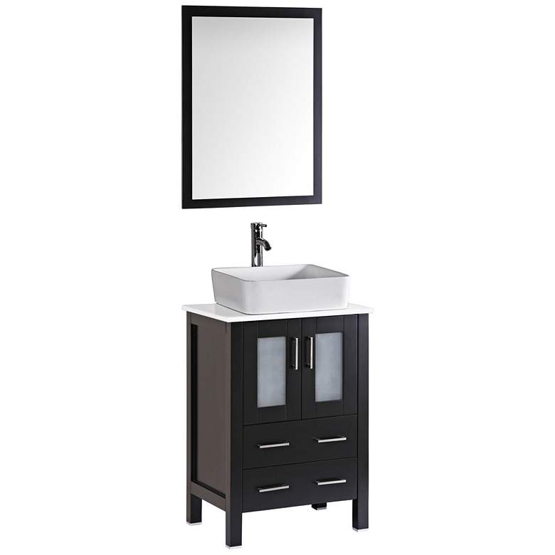 "Bosconi 24"" Espresso Rectangle Vessel 1-Sink Vanity Set"