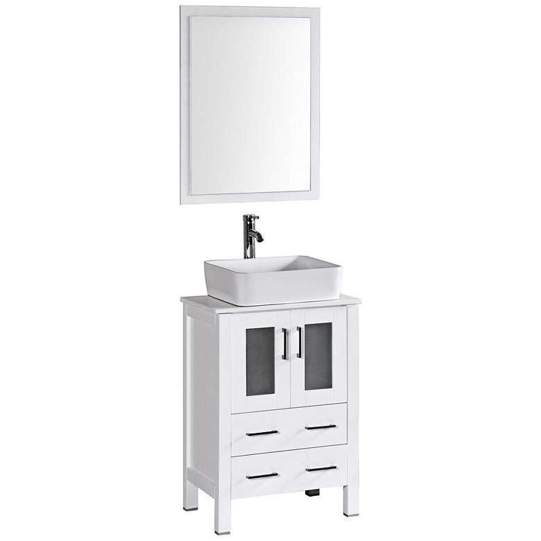"Bosconi 24"" White Rectangle Vessel Single-Sink Vanity Set"
