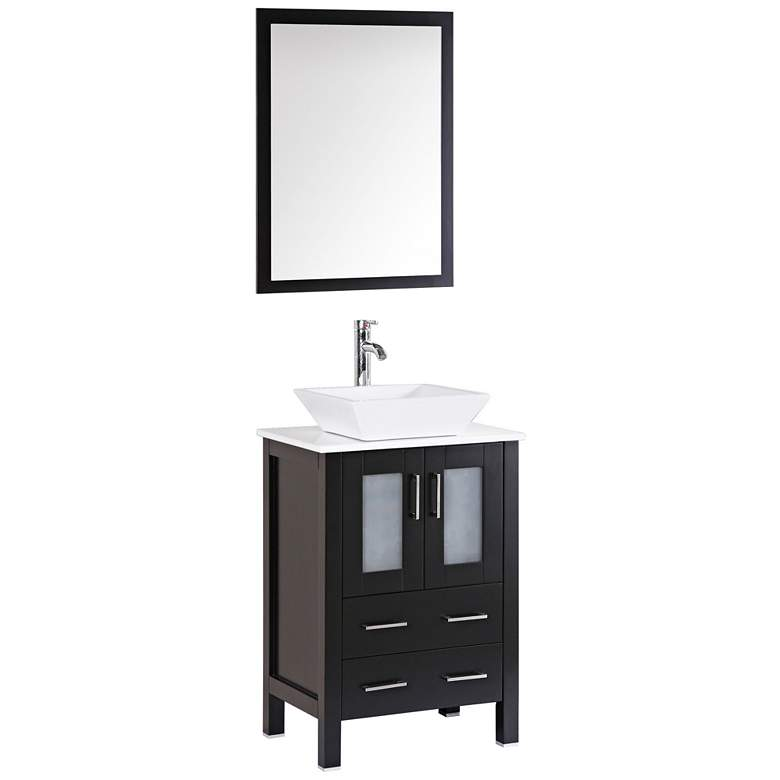 "Bosconi 24"" Espresso Square Vessel Single-Sink Vanity Set"
