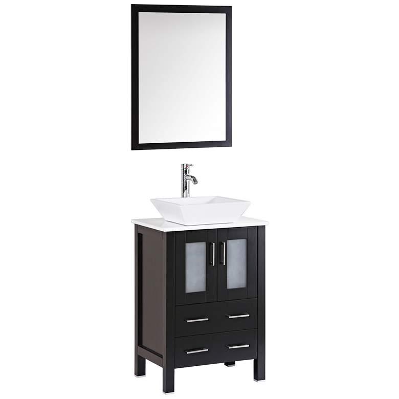 "Bosconi 24"" Espresso Square Vessel Single-Sink Vanity Set"