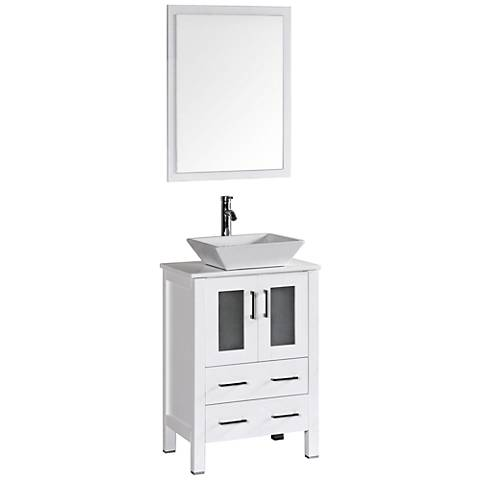 "Bosconi 24"" White Square Vessel Single-Sink Vanity Set"