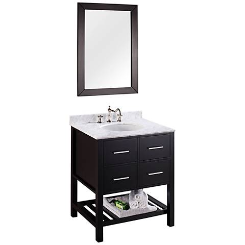 "Bosconi 30"" Black Single-Sink Vanity Set with Mirror"