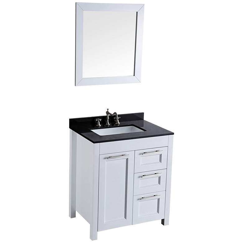"Bosconi 30"" White Single-Sink Vanity Set with Mirror"