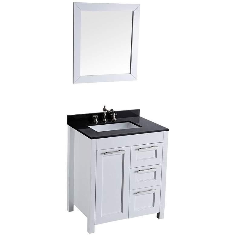 "Bosconi 30"" White Single-Sink Vanity Set with Mirror"