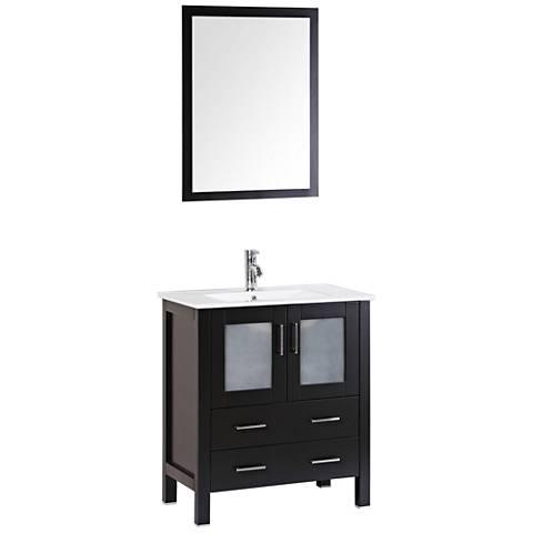 "Bosconi 30"" Espresso Integrated Single-Sink Vanity Set"