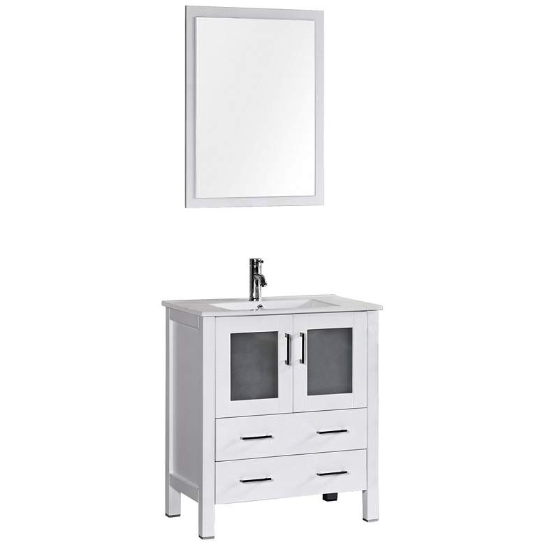 "Bosconi 30"" White Integrated Single-Sink Bath Vanity Set"