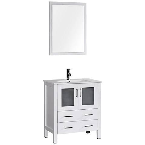 "Bosconi 30"" White Integrated Single-Sink Bath Vanity Set"