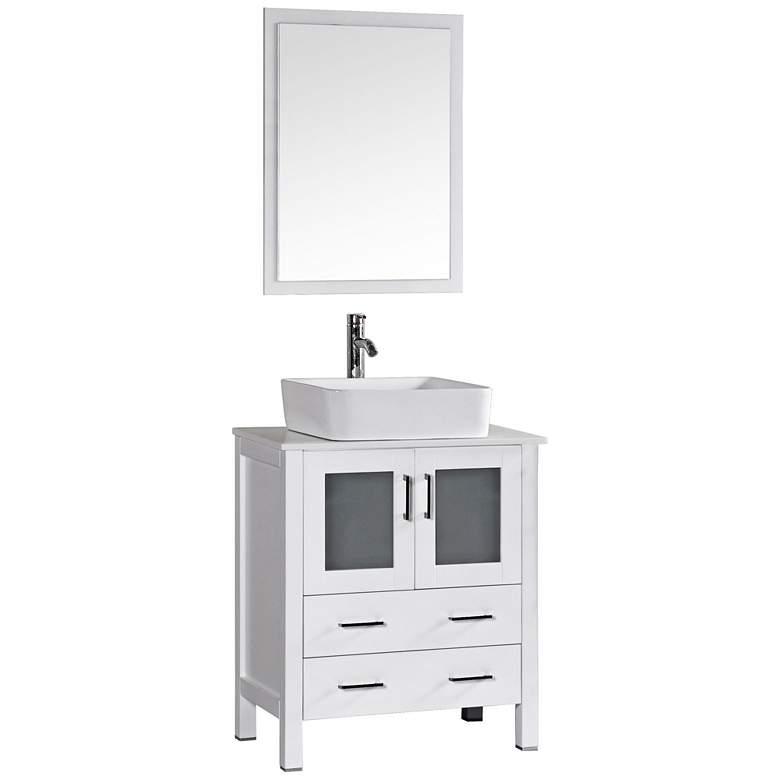 "Bosconi 30"" White Rectangle Vessel Single-Sink Vanity Set"