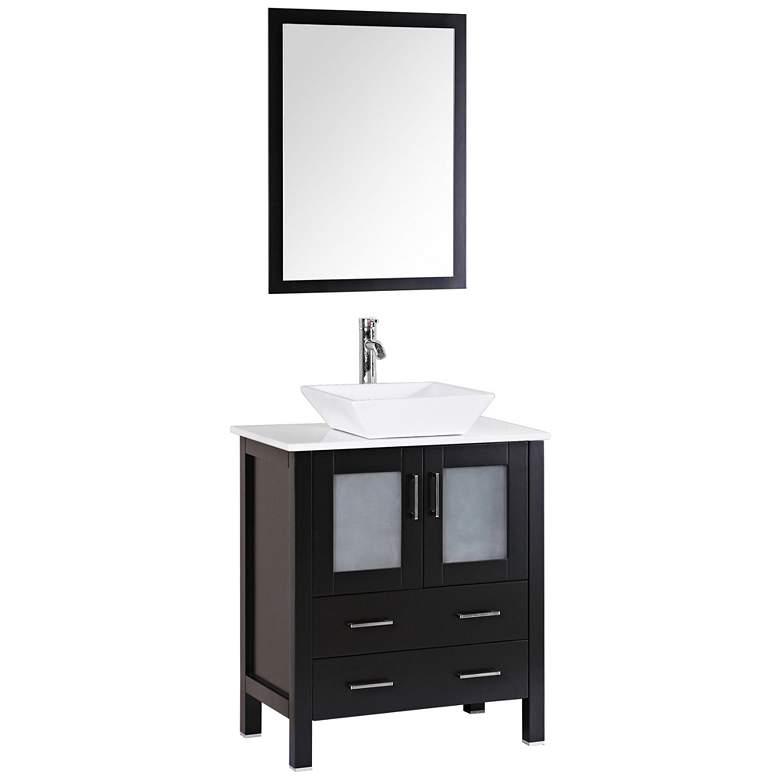 "Bosconi 30"" Espresso Square Vessel Single-Sink Vanity Set"