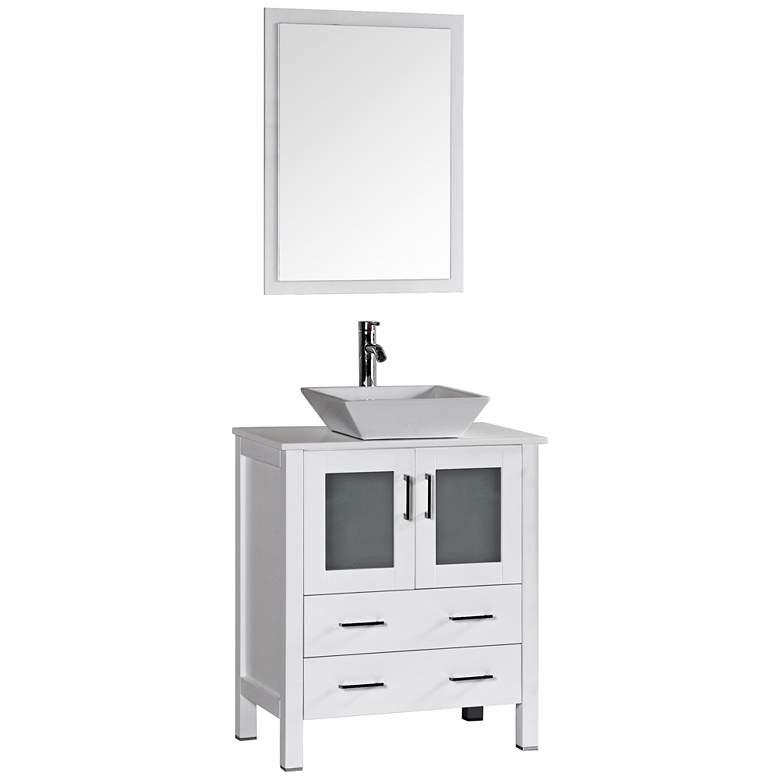 "Bosconi 30"" White Square Vessel Single-Sink Vanity Set"