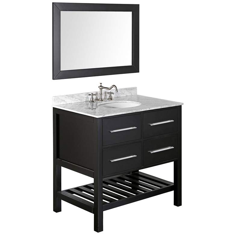 "Bosconi 35 1/2"" Black Single-Sink Vanity Set w/"
