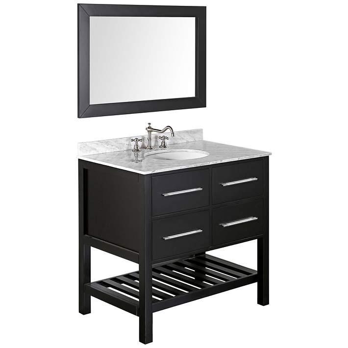 Black Single Sink Vanity Set W Mirror
