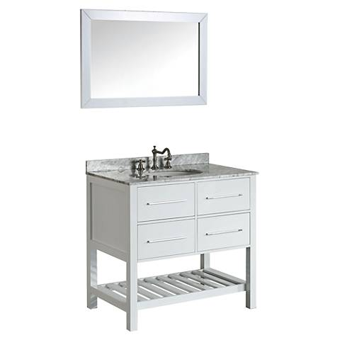 Bosconi Glossy White 2-Drawer Single-Sink Vanity Set