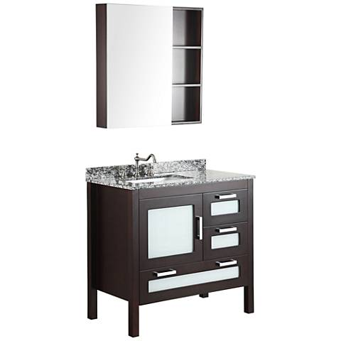 "Bosconi Espresso 37"" Wide Vanity and Medicine Cabinet Set"