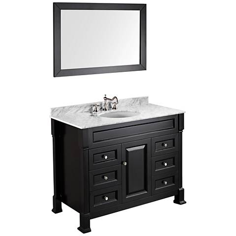 "Bosconi 43"" Black Single-Sink Carrarra Marble Vanity Set"
