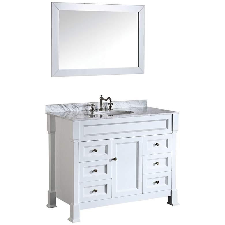 "Bosconi 43"" Wide White Marble Bath Vanity with Mirror"