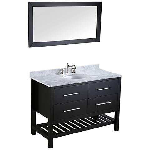 "Bosconi 47"" Black 2-Drawer Single-Sink Vanity Set w/ Mirror"