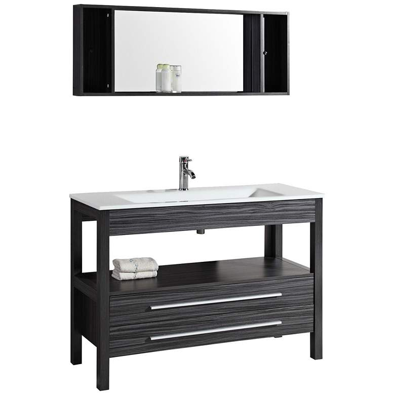 "Bosconi 48"" Wide Charcoal Gray Modern Vanity and"