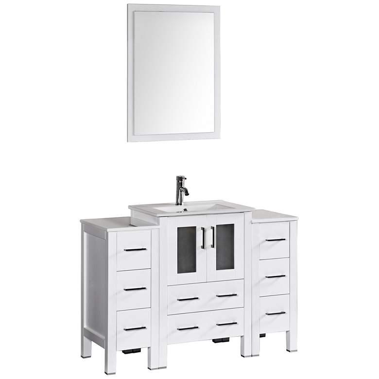 "Bosconi 48"" White Integrated Single-Sink Vanity Set"