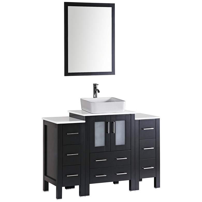 "Bosconi 48"" Espresso Rectangle Vessel 1-Sink Vanity Set"