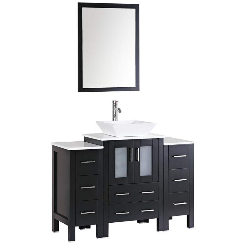 "Bosconi 48"" Espresso Square Vessel Single-Sink Vanity Set"