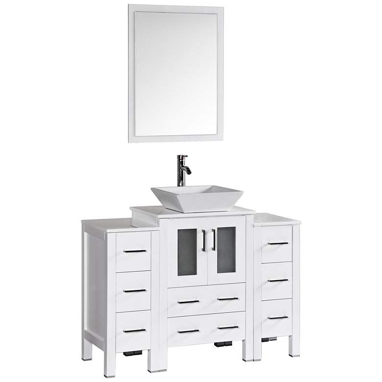 "Bosconi 48"" White Square Vessel Single-Sink Vanity Set"