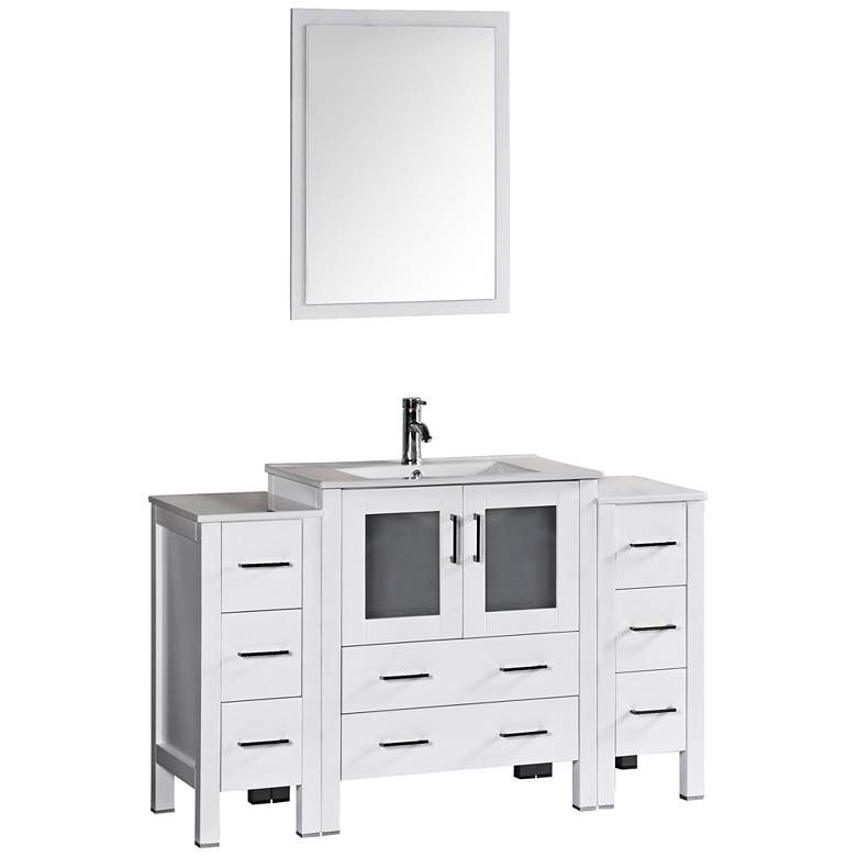 "Bosconi 54"" Gloss White Integrated Single-Sink Vanity Set"