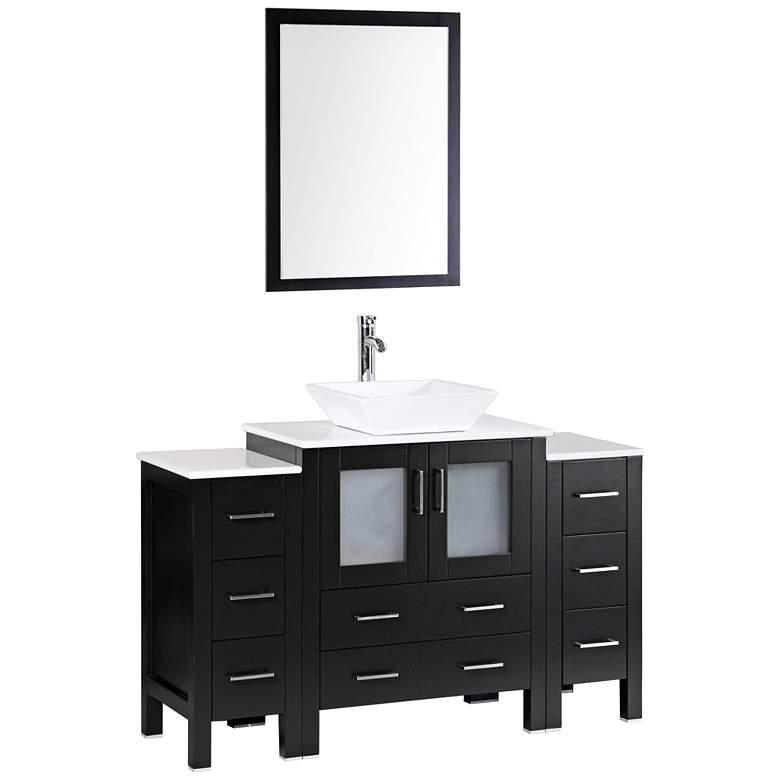 "Bosconi 54"" Espresso Square Vessel Single-Sink Vanity Set"