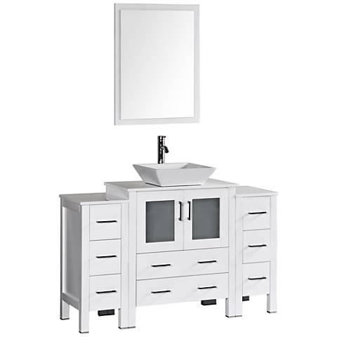 "Bosconi 54"" White Square Vessel Single-Sink Vanity Set"