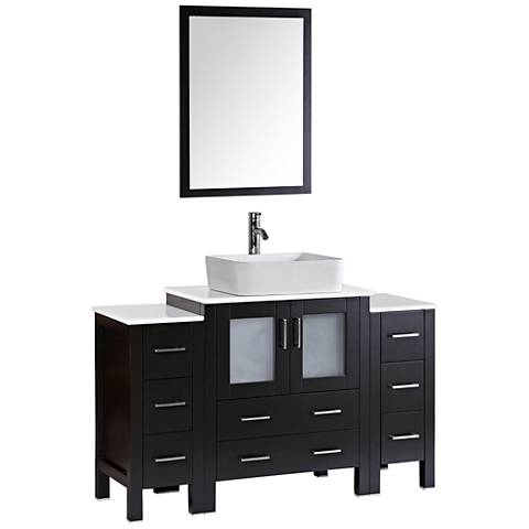 "Bosconi 54"" Espresso Rectangle Vessel 1-Sink Vanity Set"