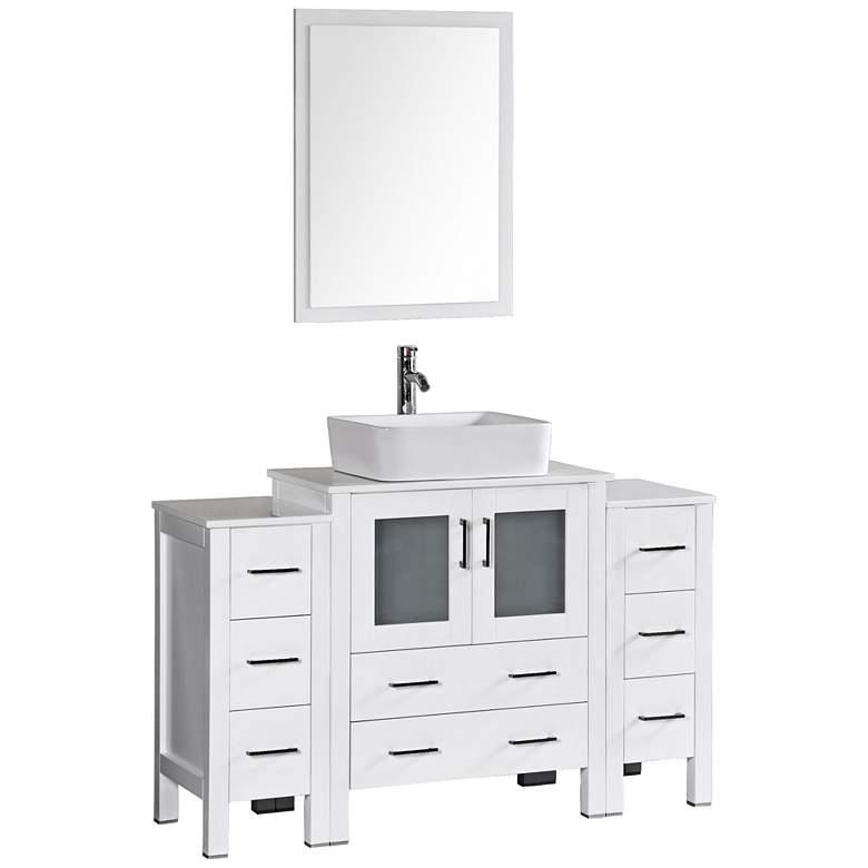 "Bosconi 54"" White Rectangle Vessel Single-Sink Vanity Set"