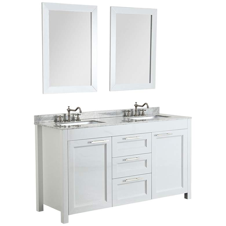 "Bosconi 60"" White Double-Sink Granite Bath Vanity Set"
