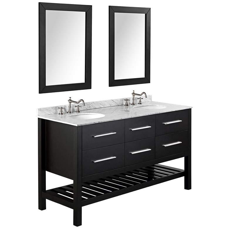 "Bosconi 60"" Black 4-Drawer Marble Double-Sink Vanity Set"