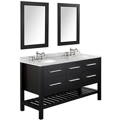 "Bosconi 60"" Black 4-Drawer Marble Double-Sink Vanity Set"